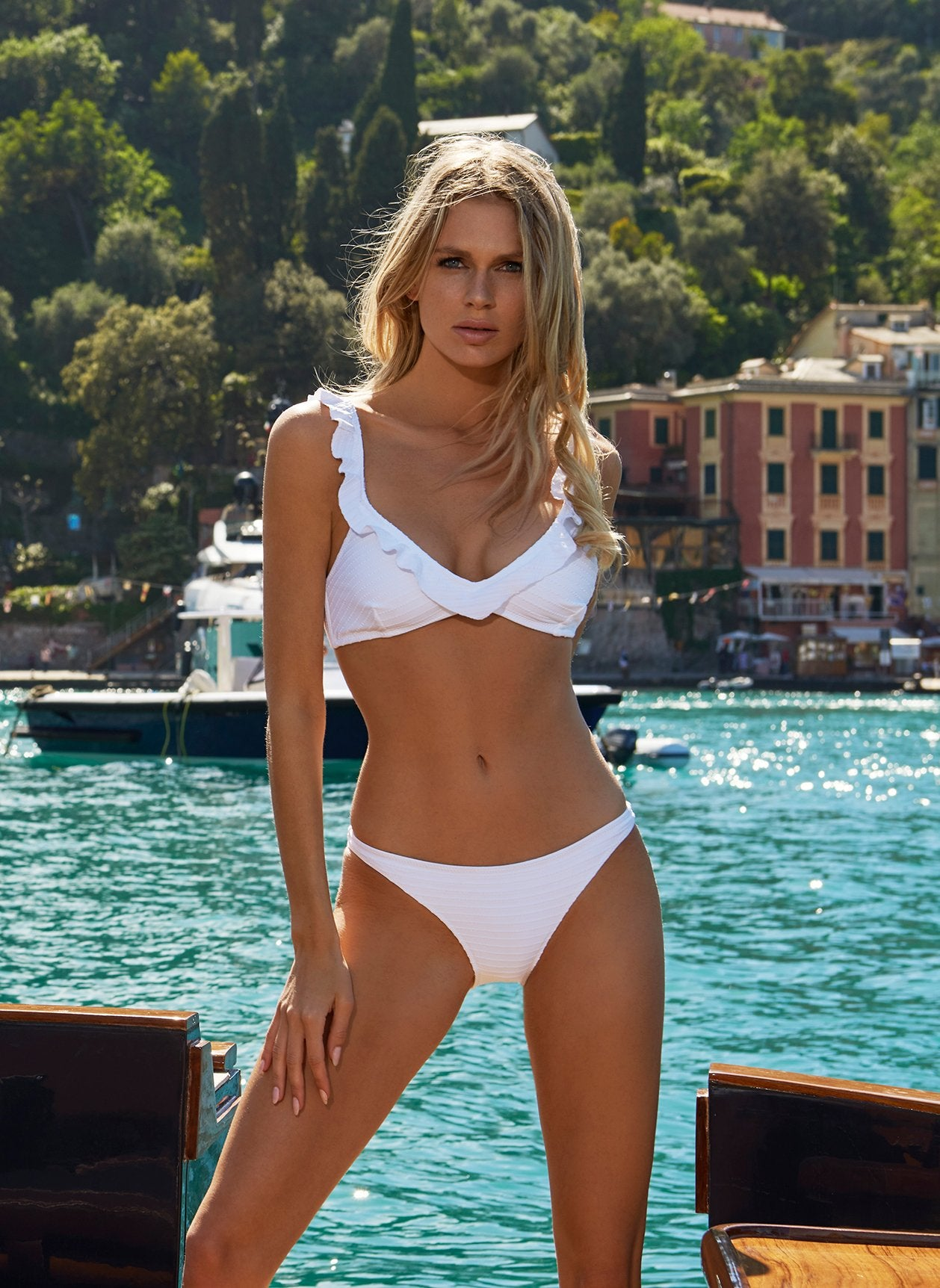 New York White Ribbed Frill Over The Shoulder Bralette Bikini 2020