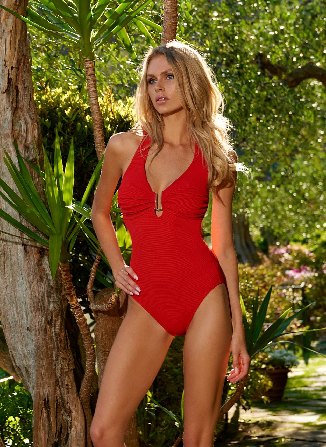 Tampa Red Pique Swimsuit