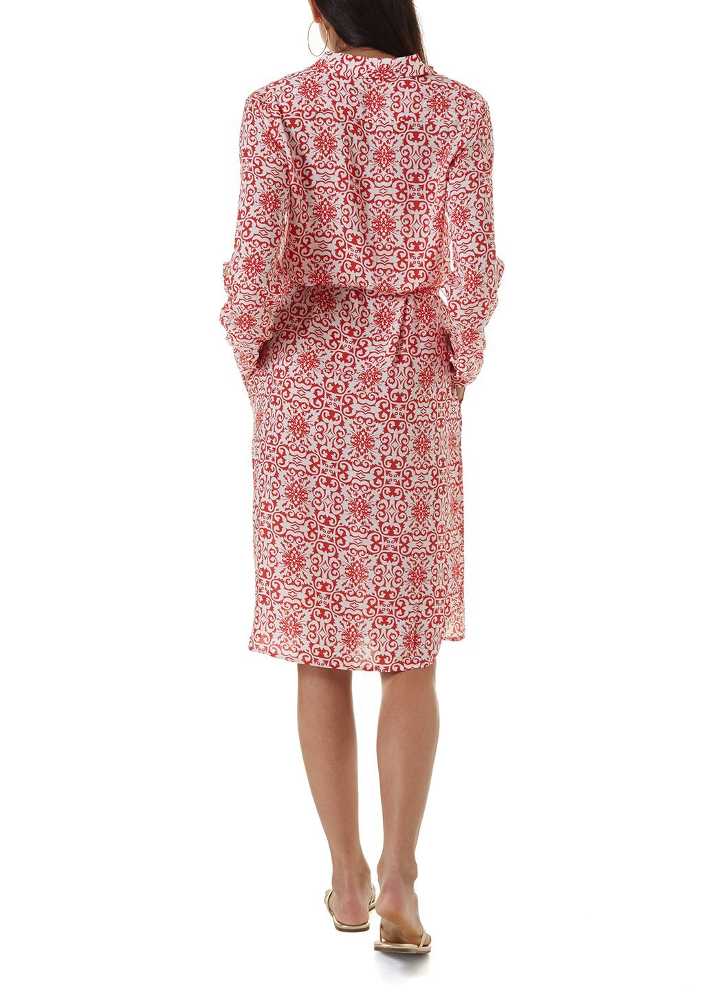 lois amalfi red short shirt dress