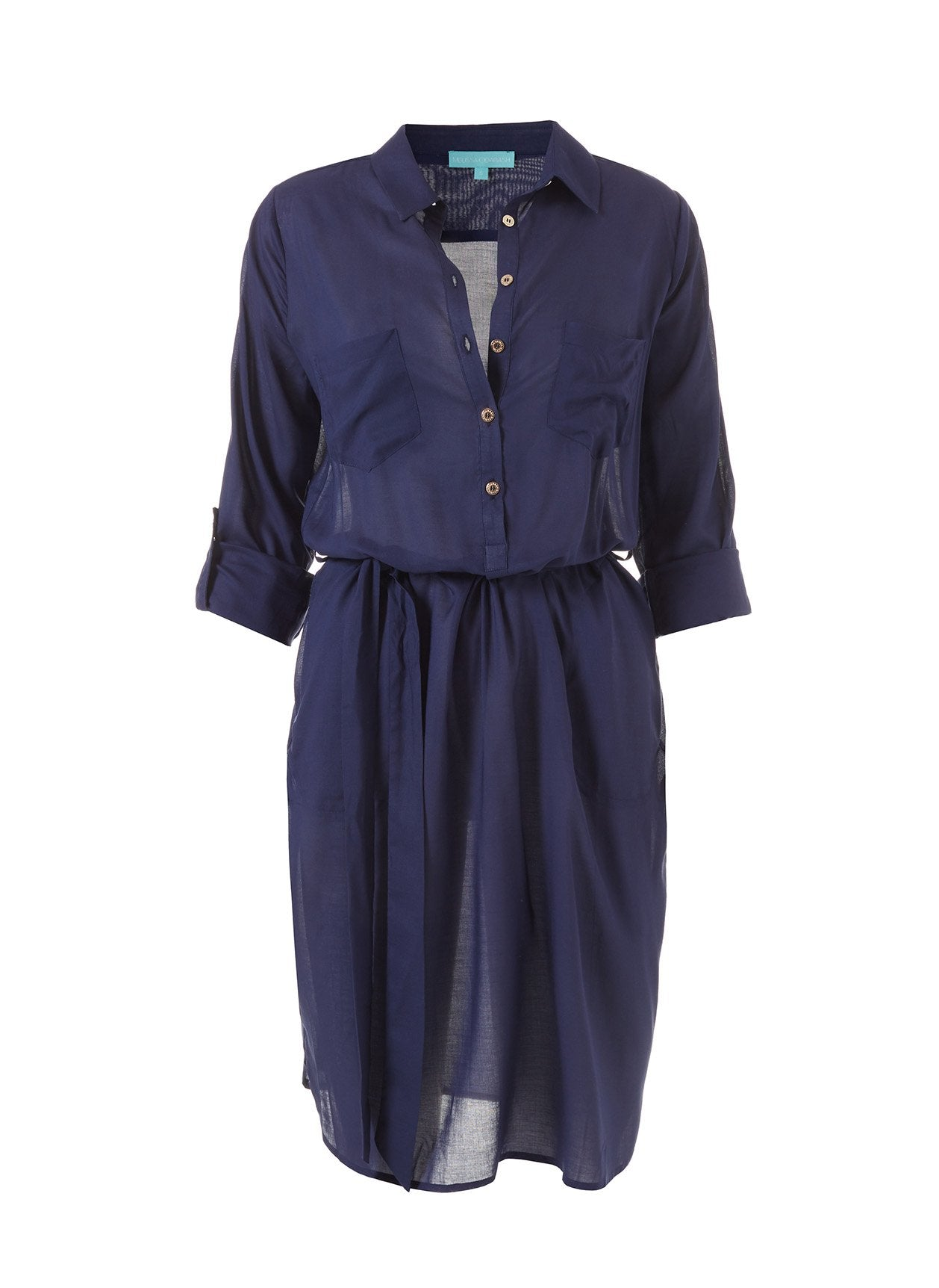 Lois Navy Button-Down Belted Shirt Dress 2020