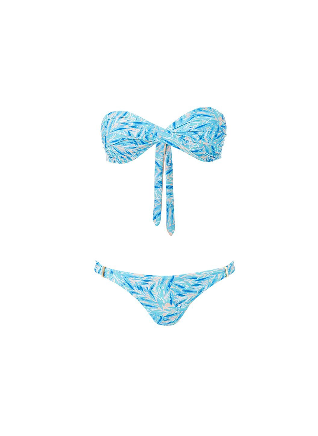 martinique blue leaf bandeau padded twist bikini 2019