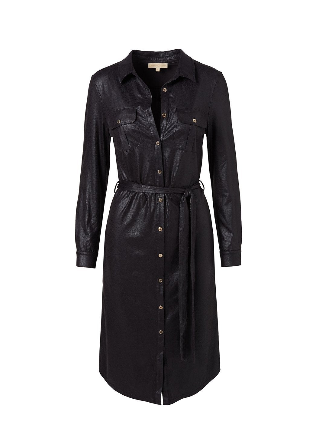 Loren Black Leather Effect Shirt Dress
