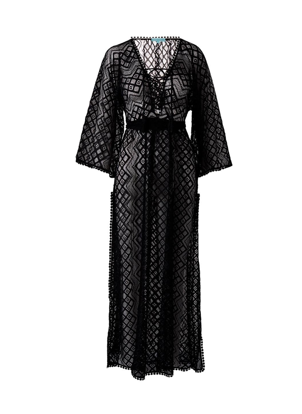 nina black long kaftan