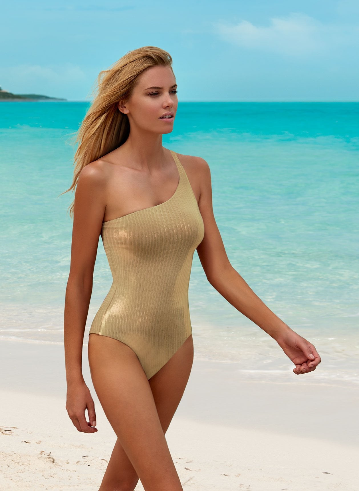 Palermo Ribbed Gold Swimsuit Lifestyle