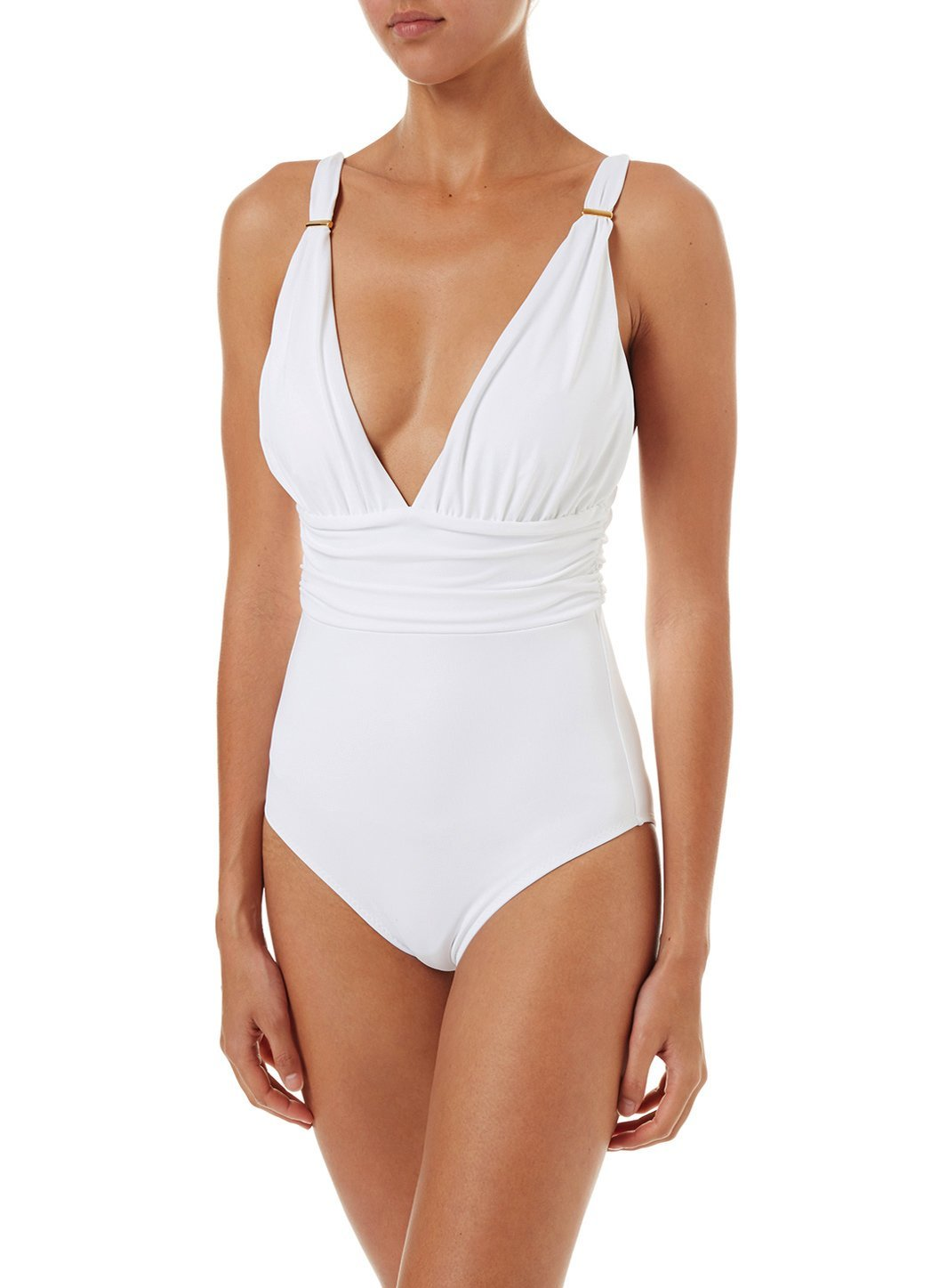 panarea white classic overtheshoulder ruched onepiece swimsuit 2019 F