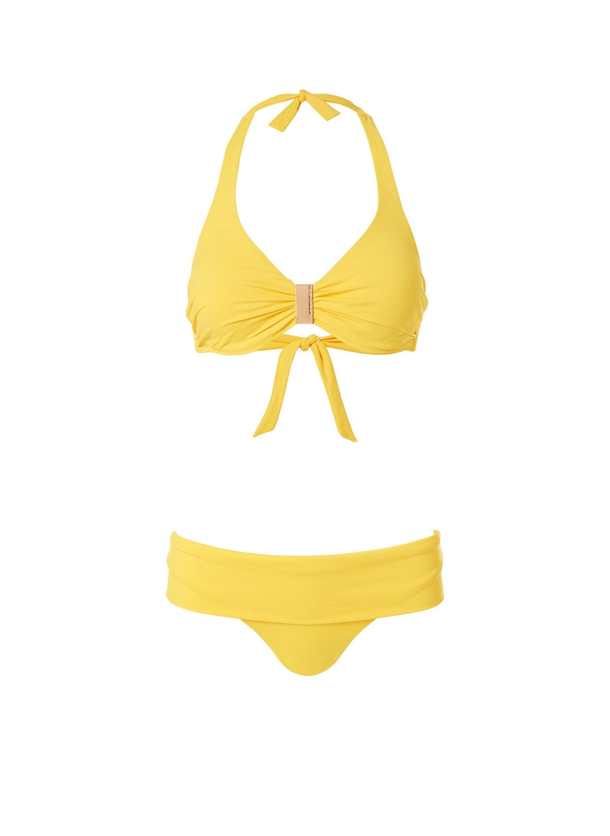 Provence Yellow Plaque Trim Supportive Halterneck Bikini 2020
