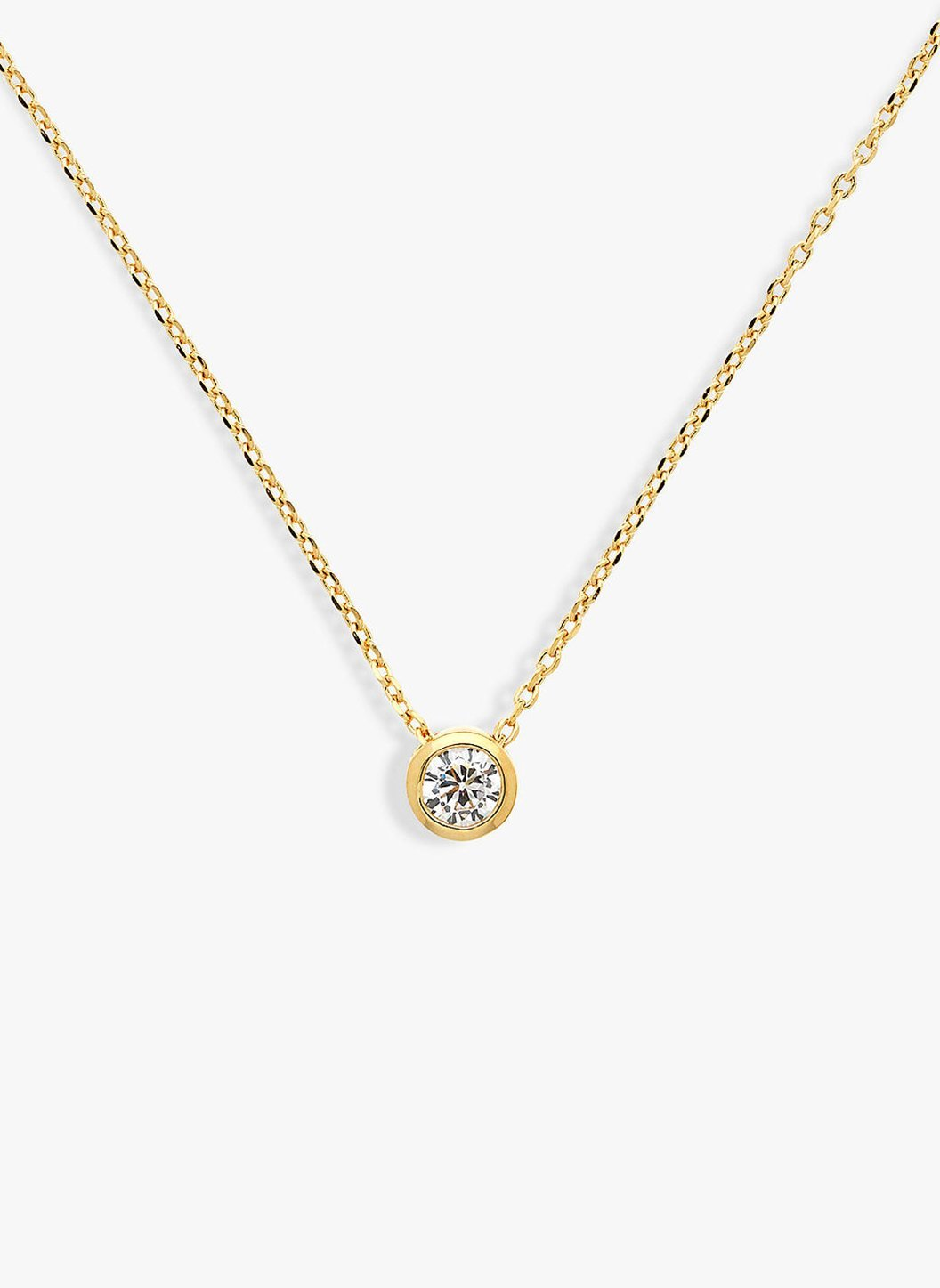 Gold Round Swarovski Crystal Pendant Necklace