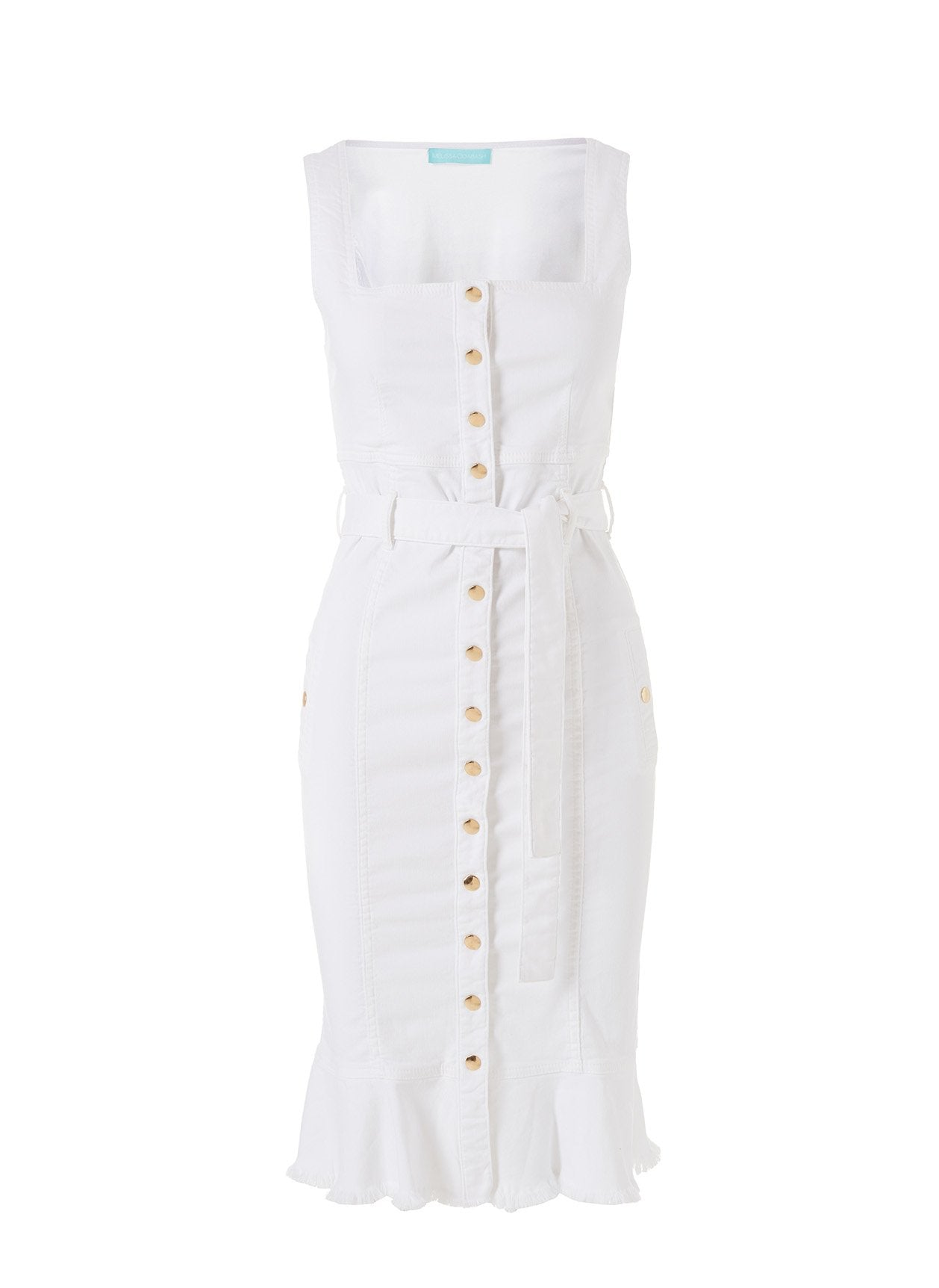 Ruby White Button Down Fitted Denim Dress 2020
