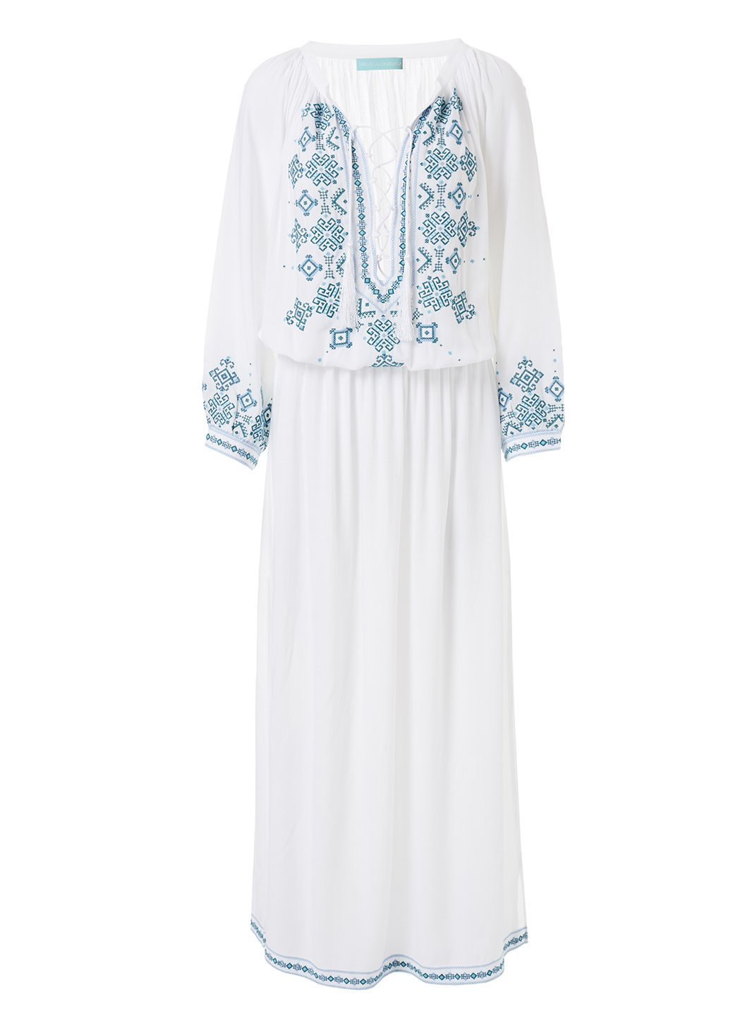 sienna white green embroidered 34sleeve maxi dress 2019