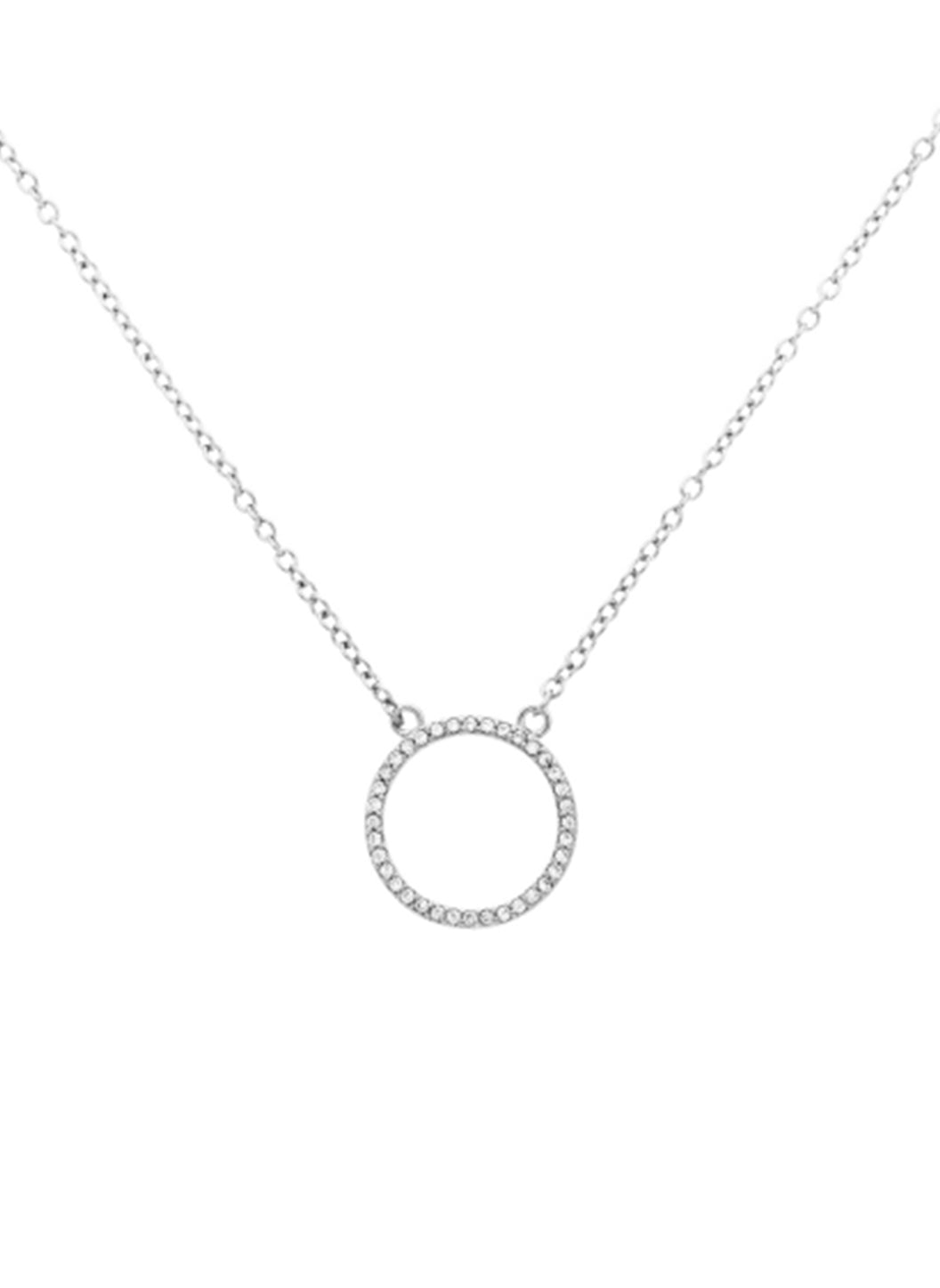 Silver Crystal Circle Necklace