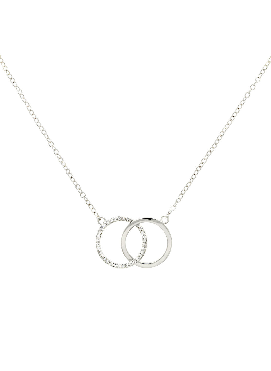 Silver Double Crystal Circle Necklace