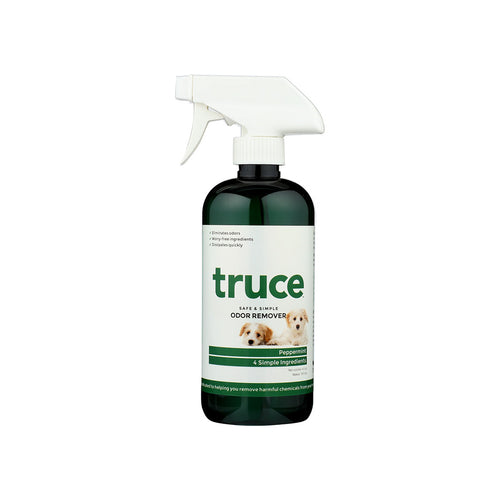 Truce Odor Remover for freshening indoor air and fabrics, simple ingredients, made in usa