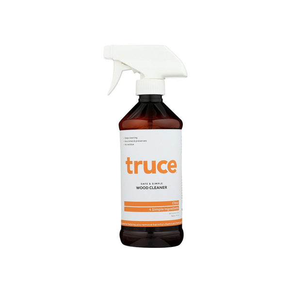 Truce Wood Cleaner for dusting and cleaning wood surfaces right, citrus
