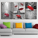 Black and White Eiffel Tower Canvas with Red Umbrella Wall Canvas Decor for Home - Best Room Tapestry