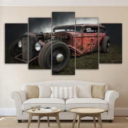 5 Pieces Antique Hot Rod Vintage Car HD Painting Canvas Wall Art for Home Decor Living Room - Best Room Tapestry