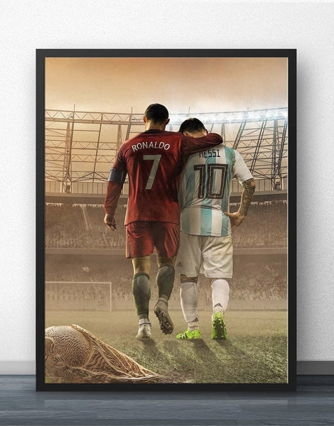 Lionel Messi And Ronaldo Football Player Wall Art Decor For Living Room No Frame - Best Room Tapestry