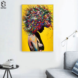 Modern Girl Portrait Canvas Oil Painting for Office Living Room or Home Decoration - Best Room Tapestry