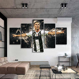 Super Sports 5 Pieces Cristiano Ronaldo Wall Art Canvas for Kids Room or Home Decor - Best Room Tapestry