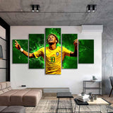 5 Pieces Paintings Brazil Football Stars Neymar Posters Wall Canvas for Kids Room and Home Decor - Best Room Tapestry