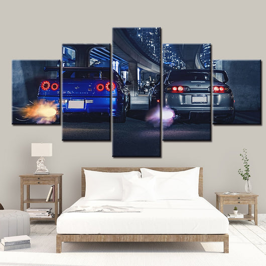 5 piece GTR R34 VS Supra Decor Canvas For Living Room - Best Room Tapestry