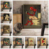 Funny Spiderman Superhero Toilet Canvas for Room Decor - Best Room Tapestry