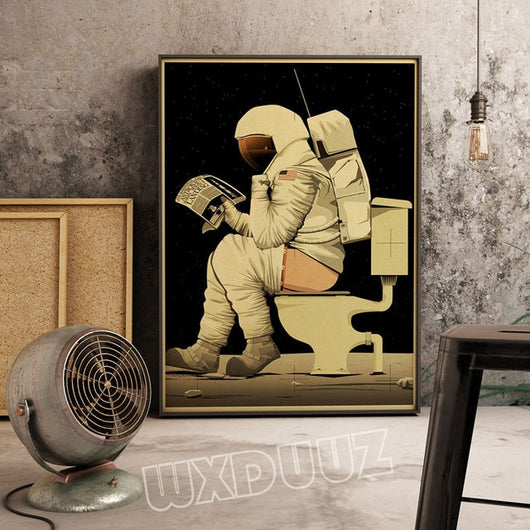 Funny Astronaut Toilet Canvas for Room Decor - Best Room Tapestry