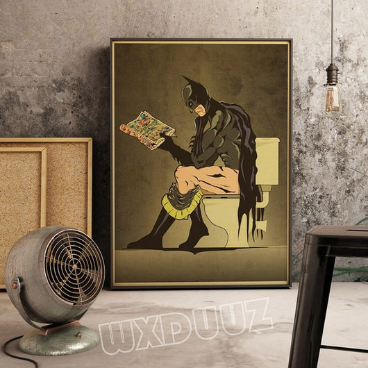 Funny Batman Superhero Toilet Canvas for Room Decor - Best Room Tapestry