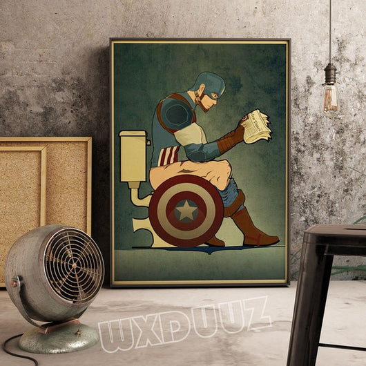 Funny Captain America Superhero Toilet Canvas for Room Decor - Best Room Tapestry