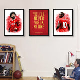 Liverpool FC Motto Sadio Mane & Mohamed Salah Art Canvas Vintage Poster for Kids Room or Wall Art Decor