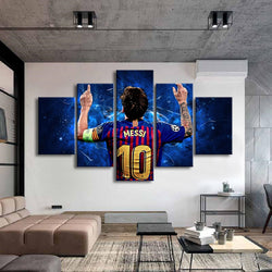 Barcelona 10 Messi Poster Famous Football Star 5 Pieces Canvas Wall Art for Kids Room Decor - Best Room Tapestry