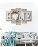 5 Pieces HOME Wall Art Letter Canvas for Living Room or Bedroom Decoration - Best Room Tapestry