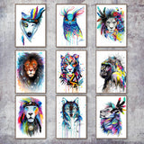 Water Color Lion Tortoise Gorilla Wolf Fox Animal Print Wall Art Canvas For Living Room - Best Room Tapestry