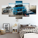 Canvas Printed Poster Home Decor 5 Pieces HD Bmw M3 Blue Sport Car Painting for Wall Art and Living Room - Best Room Tapestry