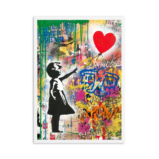 Girl with Balloon Street Wall Art Canvas For Kids Room Decor - Best Room Tapestry