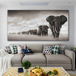 Black And White Elephant Modern Canvas Wall Art For Living Room Decoration - Best Room Tapestry