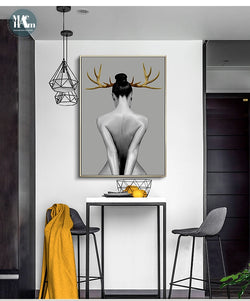 Girl Wall Art Canvas Painting Black White Nude Art for Living Room Morden Decor - Best Room Tapestry