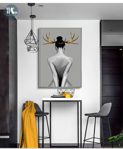 Girl Wall Art Canvas Painting Black White Nude Art for Living Room Morden Decor