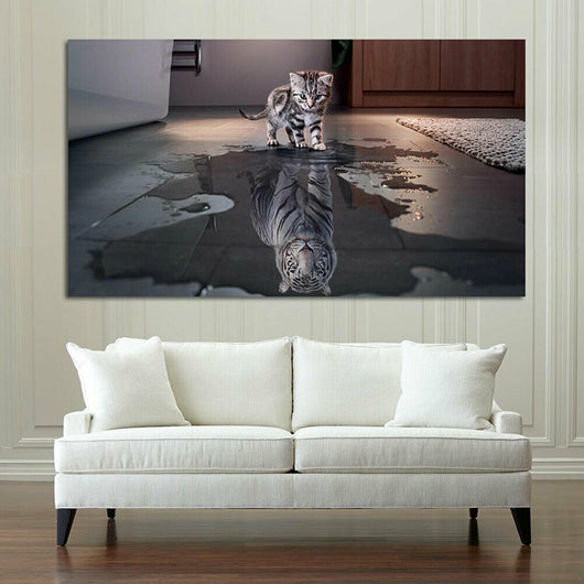 Frameless Modern Abstract Painting Decor Cat or Tiger Wall Decorative Canvas Art - Best Room Tapestry