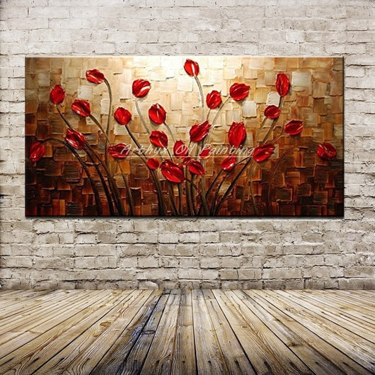 Thick Palette Knife Flower Oil Painting on Canvas for Home Wall Decor - Best Room Tapestry