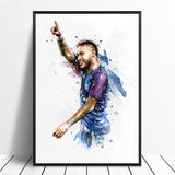 Neymar Jr Football Star Poster Original Watercolor Painting Wall Art for Home Decor and Wall Decor - Best Room Tapestry