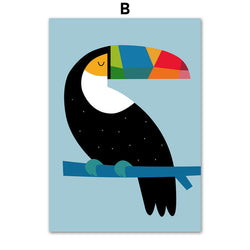 Abstract Toucan Bird Nursery Wall Art Canvas For Baby and Kids Room Decor - Best Room Tapestry