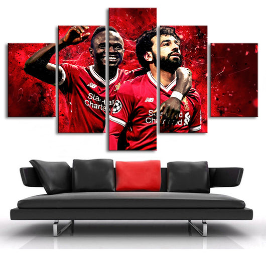 Liverpool Mohamed Salah Posters 5 Pieces Canvas Art Soccer Stars Football Posters Sports Posters for Kids Room or Home Decor - Best Room Tapestry