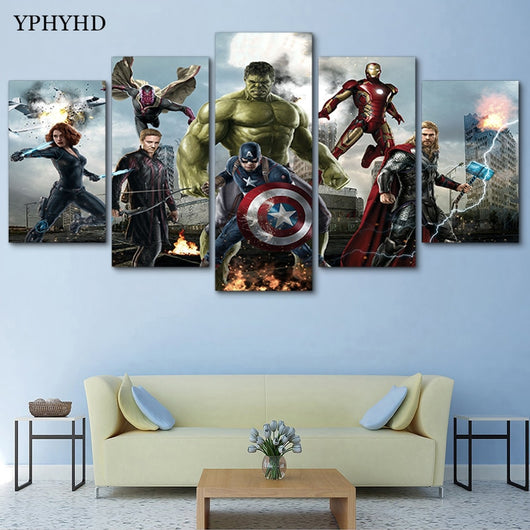 5 Piece The Avengers Canvas Painting Poster for Wall Art - Best Room Tapestry