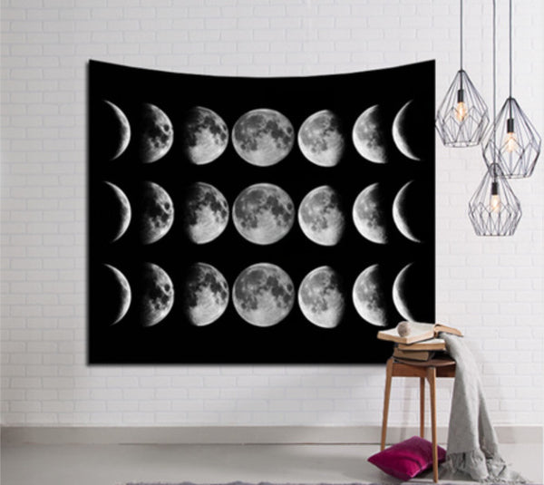 Black and White Moon Phases Tapestry