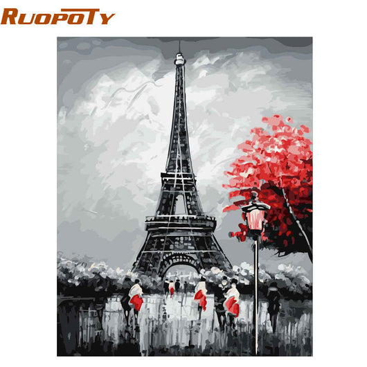 Paris Landscape Calligraphy Painting Modern Wall Art for Home - Best Room Tapestry