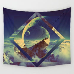 Geometric Mountain View - Square - Best Room Tapestry
