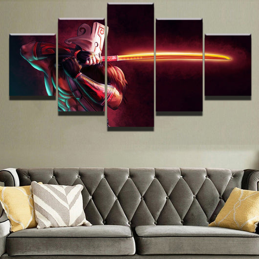 Modern Canvas Painting Modular Game Poster 5 Pieces Dota Juggernaut Wall Art for Home Decor or Boys Room Artwork - Best Room Tapestry