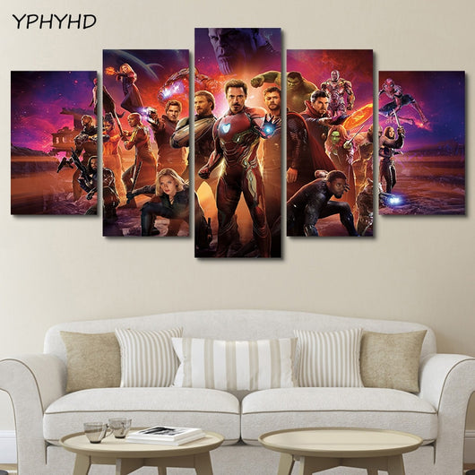 5 Pieces Avengers Infinity War Together Wall Art Canvas for Home Decoration - Best Room Tapestry