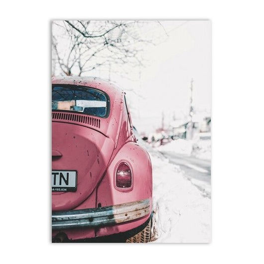 VW Beetle Vintage Car Canvas For Wall Art, Retro Car Canvas Painting For Living Room Wall Decor - Best Room Tapestry