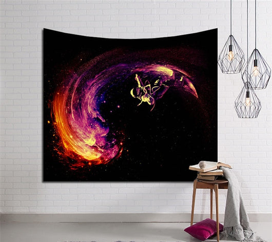 Abstract Astronaut Surfing Tapestry